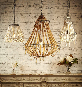 Pendant Light Beaded Chandelier Small Natural