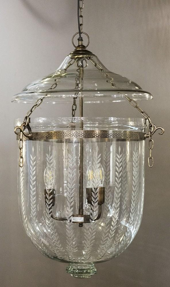 Pendant Light Bell Jar Leaf Cut Lantern Large