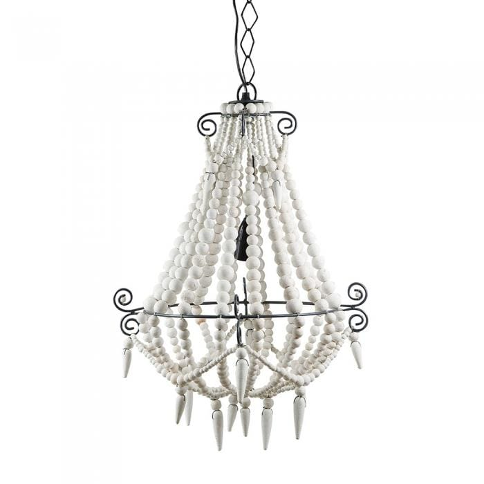 Beaded Chandelier Small White