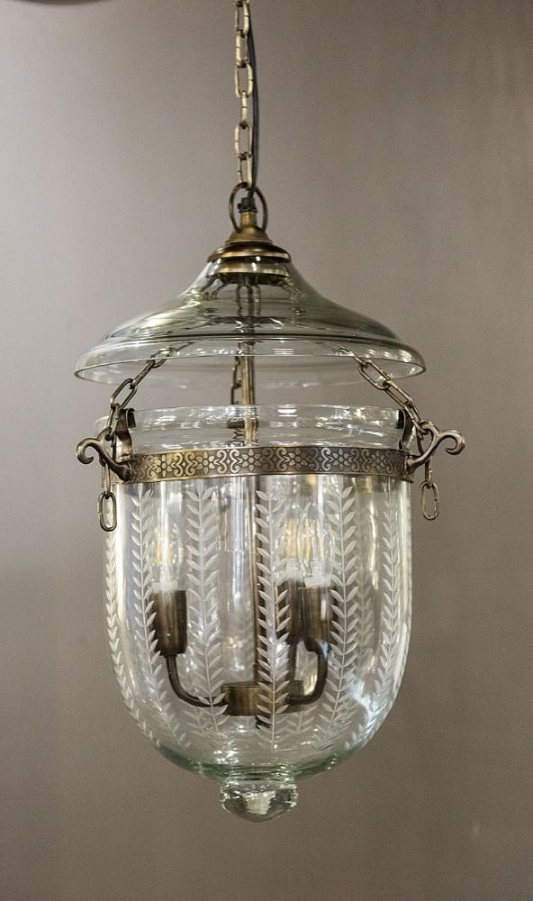 Pendant Light Bell Jar Leaf Cut Lantern Small