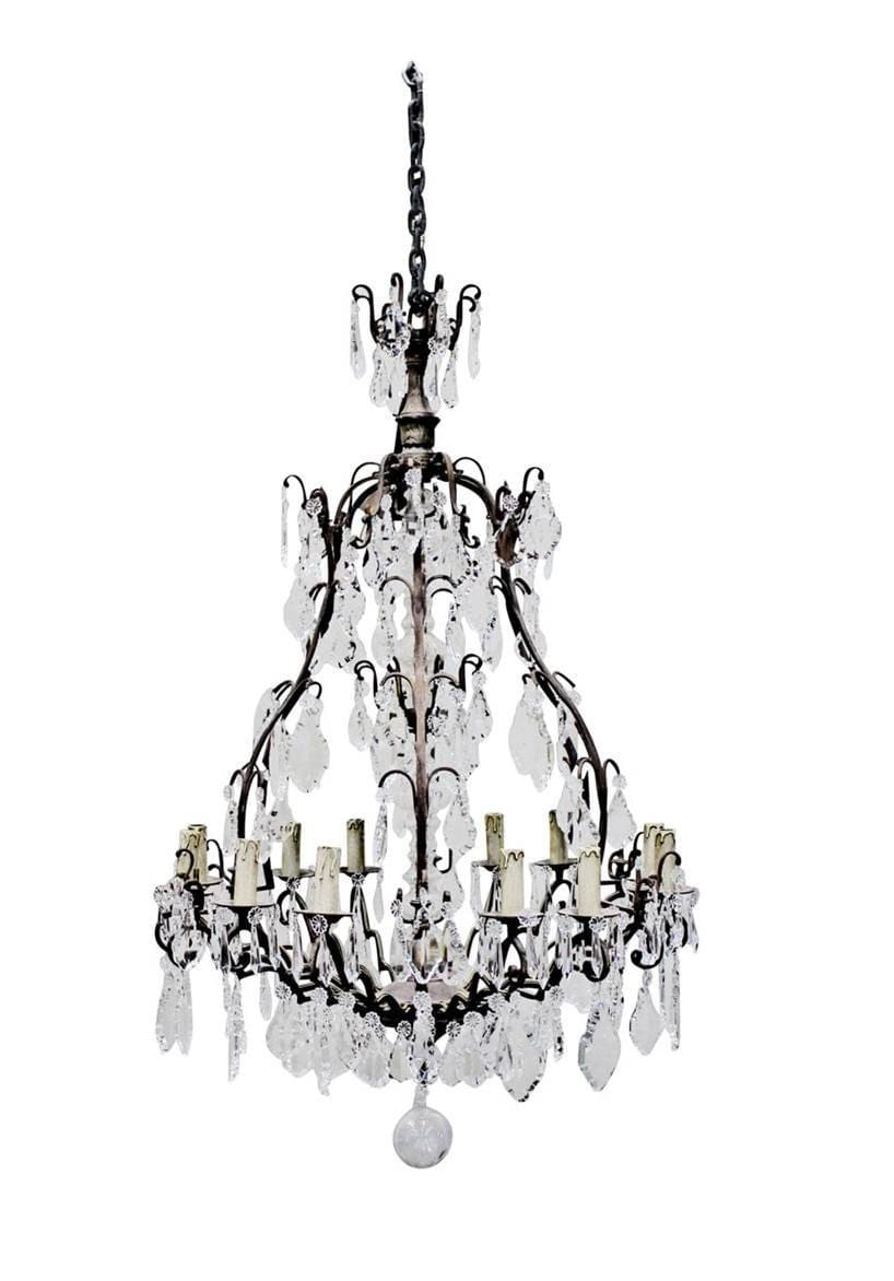 Chandelier Cast Iron Crystal Dominique