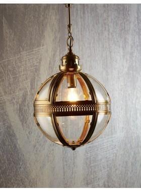Pendant Light Saxon Pendant Lamp Lge Antique Brass 55Cm