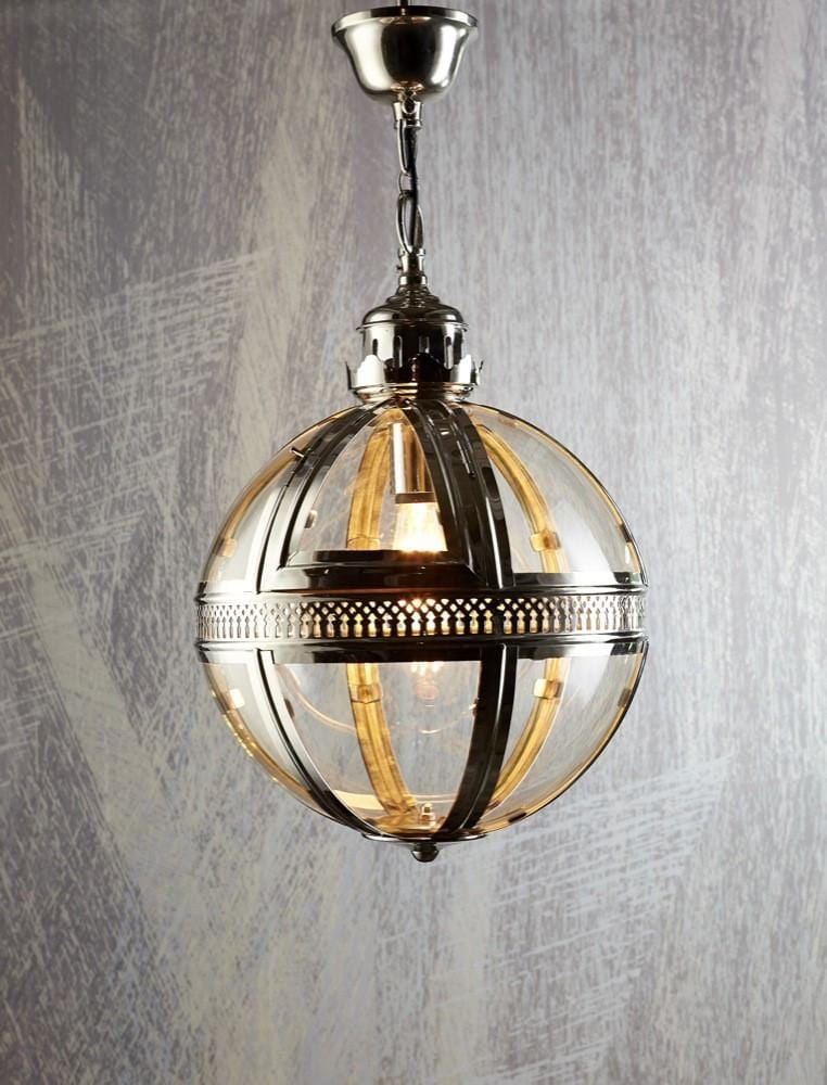 Pendant Light Saxon Pendant Lamp Med Shiny Nickel 45Cm
