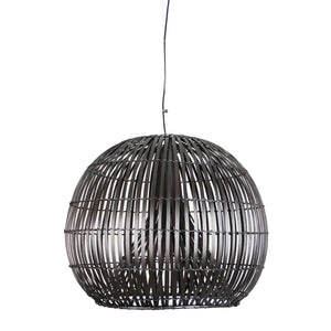 Pendant Light Wicker Cane Dark Brown Satori Large