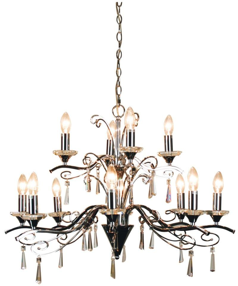Chandelier Entry Clear Chrome 12 Light Diaz
