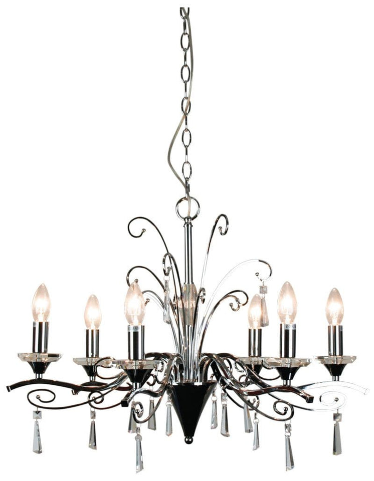 Chandelier Entry Clear Chrome 6 Light Diaz