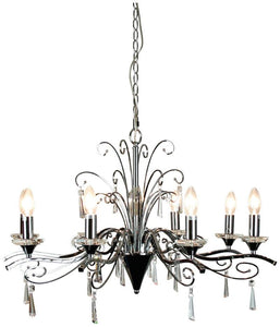 Chandelier Entry Clear Chrome 8 Light Diaz