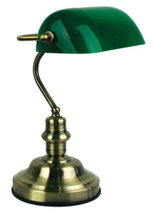 Bankers Lamp Touch Ab / Dark Green