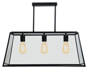 Pendant Light Black Retro Three Light Eaton 70