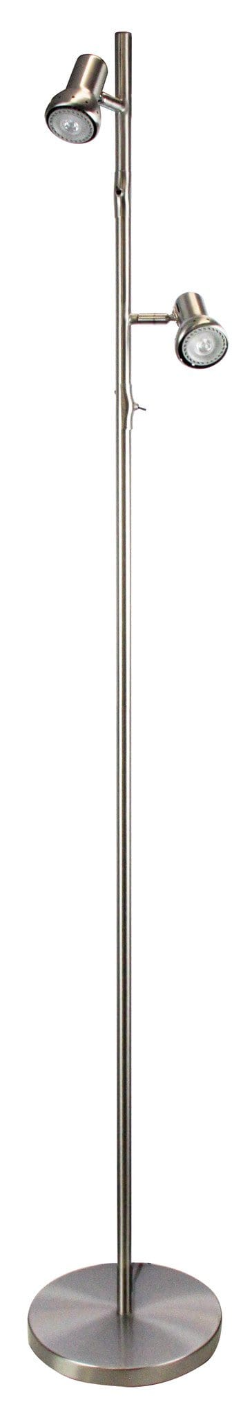 Daxam Led Twin Floor Lamp Brushed Chrome