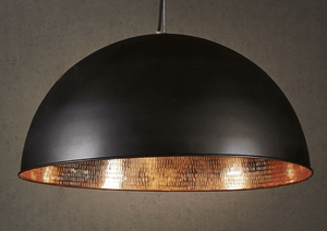 Pendant Light Alfresco Dome Black Copper Ceiling Lamp