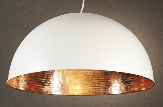 Pendant Light Alfresco Dome White Copper Ceiling Lamp