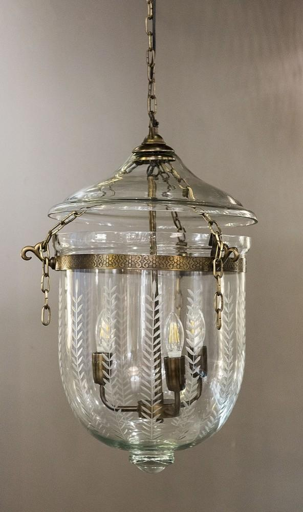 Pendant Light Bell Jar Leaf Cut Lantern Medium