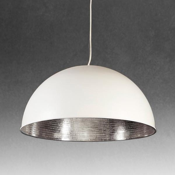 Pendant Light Alfresco Dome White Silver Ceiling Lamp