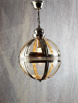 Pendant Light Saxon Pendant Lamp Large Shiny Nickel