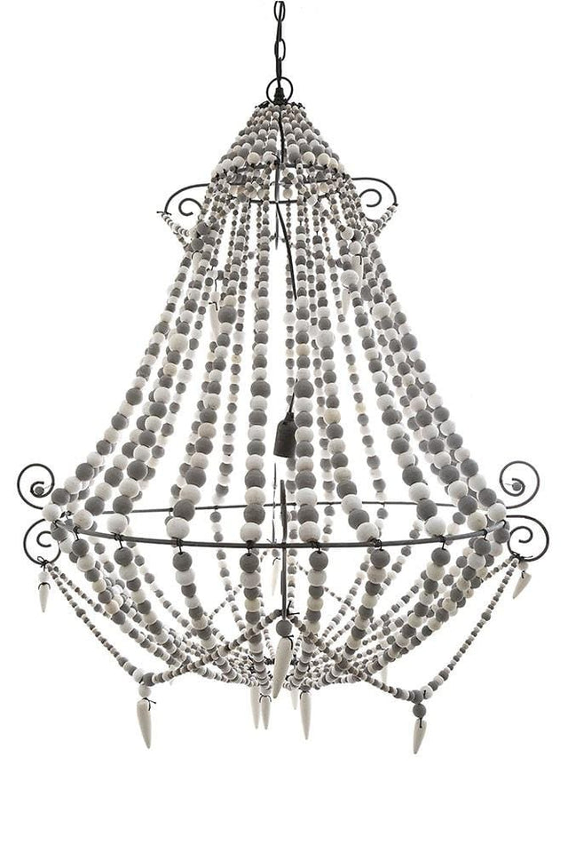 Chandelier Beaded Natural Wood