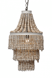 Chandelier Beaded Bangalow Natural White
