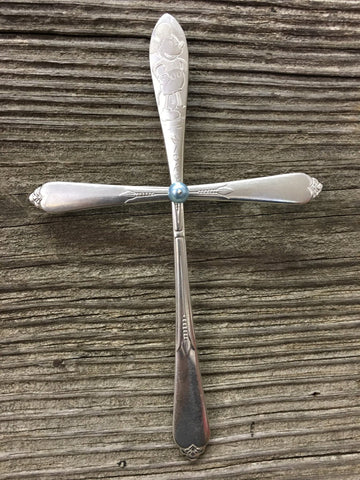 "Large ""Mickey"" Cross 937, Silverplate & Spoon hand made silver"
