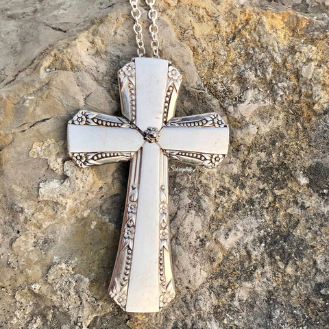 Cross Pendant, Del Mar 1939, Silverplate & Spoon hand made jewelry silver
