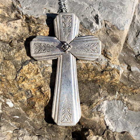Cross Pendant, Clarion 1931, Silverplate & Spoon hand made jewelry silver