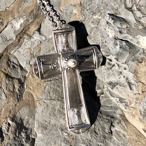 Featured Cross Pendant, Century 1923, Silverplate & Spoon hand made jewelry silver