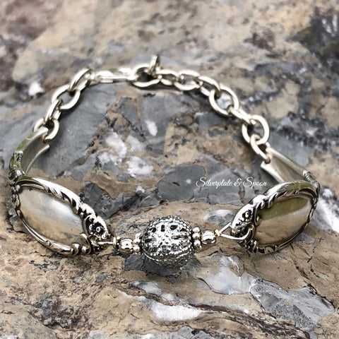 Bracelet, Park Lane/Chatelaine/Dowry 1957, Silverplate & Spoon hand made jewelry silver