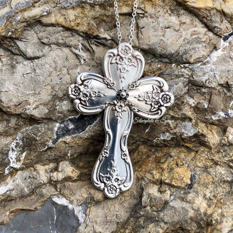 Featured Cross Pendant, Magnolia/Inspiration 1951, Silverplate & Spoon hand made jewelry silver