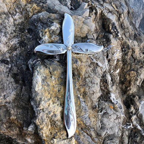 Medium Cross, Springtime 1957-1967, Silverplate & Spoon hand made jewelry silver