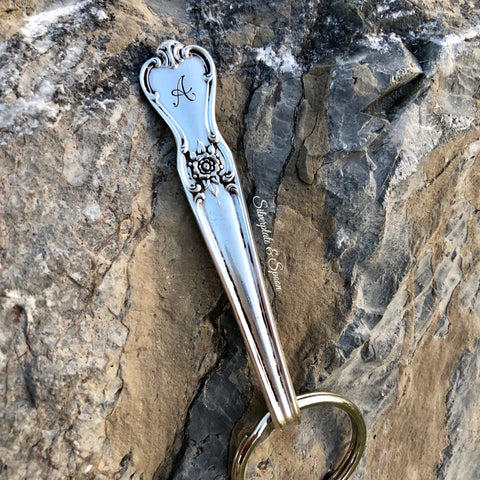 "Featured Keychain, Signature 1950 with ""A"" Initial, Silverplate & Spoon hand made jewelry silver"
