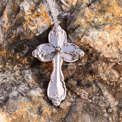 Featured Cross Pendant, Southern Splendor/Royal Pageant 1962, Silverplate & Spoon hand made jewelry silver