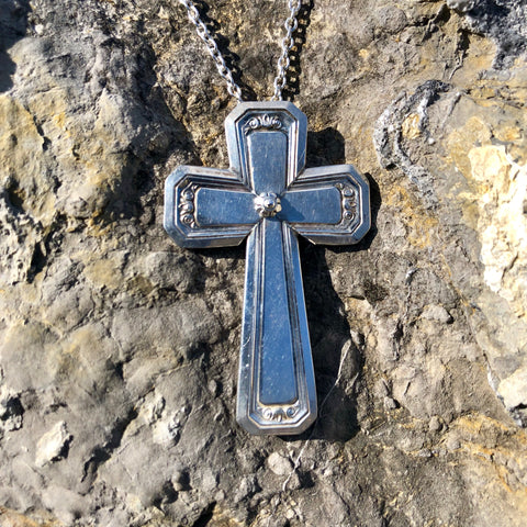 Cross Pendant, Amherst 1938, Silverplate & Spoon hand made jewelry silver
