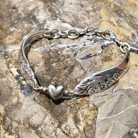 Bracelet, Evening Star 1950, Silverplate & Spoon hand made jewelry silver