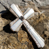 Cross Pendant, Treasure 1940, Silverplate & Spoon hand made jewelry silver
