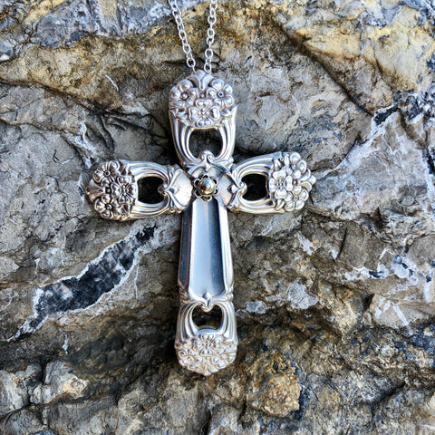 Featured Cross Pendant, Eternally Yours 1941, Silverplate & Spoon hand made jewelry silver