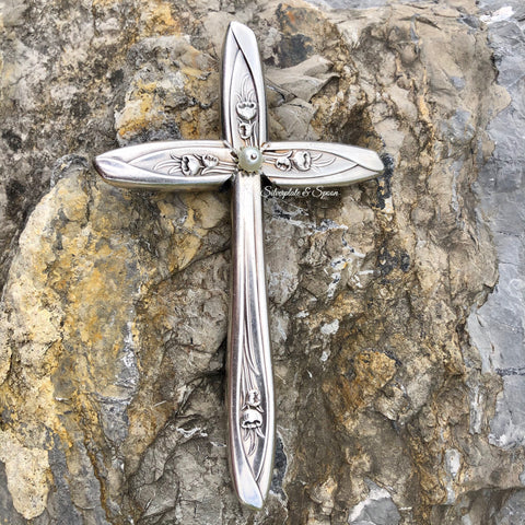 Medium Handle Cross, Silver Tulip 1956, Silverplate & Spoon hand made jewelry silver