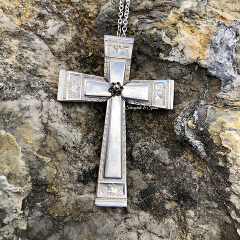 Cross Pendant, Paris 1921, Silverplate & Spoon hand made jewelry silver