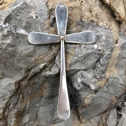 Medium Cross, Windsor 1919, Silverplate & Spoon hand made jewelry silver