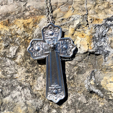 Cross Pendant, Majestic 1928, Silverplate & Spoon hand made jewelry silver