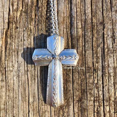 Featured Cross Pendant, Roseanne 1938, Silverplate & Spoon hand made jewelry silver