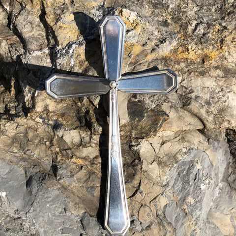 Medium Cross, Mayfair 1923, Silverplate & Spoon hand made jewelry silver