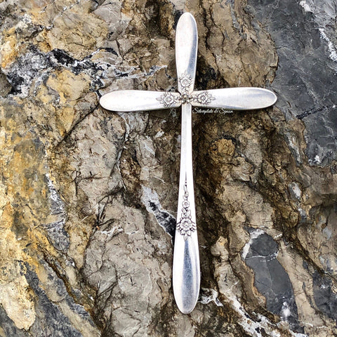 Medium Cross, Fantasy 1941, Silverplate & Spoon hand made jewelry silver