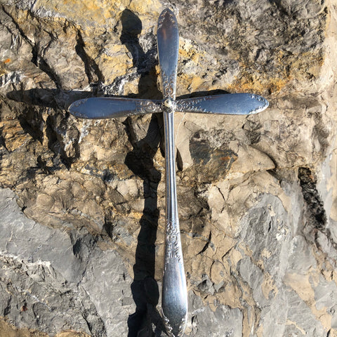 Large Cross, King Edward 1951-2, Silverplate & Spoon hand made jewelry silver