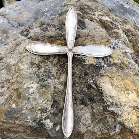 Large Cross, Debutante 1925, Silverplate & Spoon hand made jewelry silver