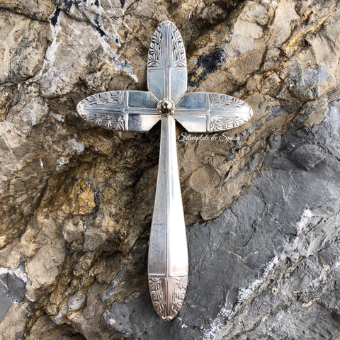 Featured Small Cross, Cranford/Sherwood 1949, Silverplate & Spoon hand made jewelry silver