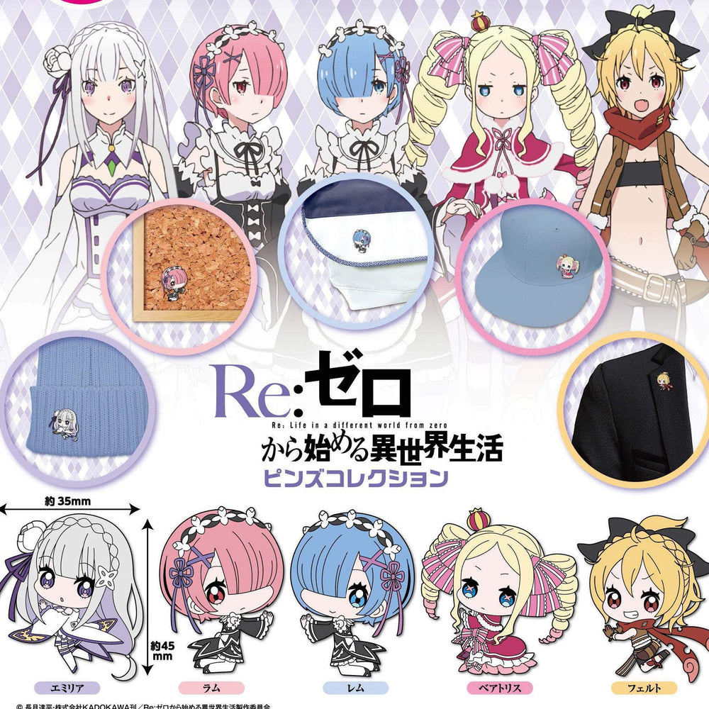 Re:Zero Enamel Pins by Bushiroad Creative
