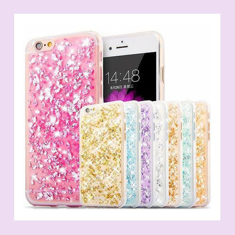 Glitter Bling Silicone Rubber Gold Foil Case Cover For Apple iPhone 6/6S PLUS