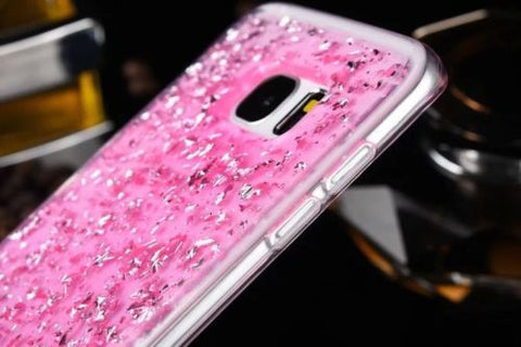 Samsung Galaxy S6 Luxury Bling Glitter Gold Foil Soft Clear Back Case Cover