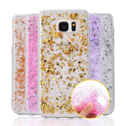 Samsung Galaxy S6 EDGE Luxury Bling Glitter Gold Foil Soft Back Case Cover