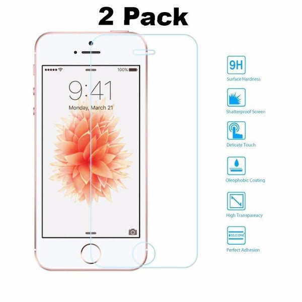 2x Ultra Tempered Glass Film Screen Protector for iPhone SE/5S/5/5C