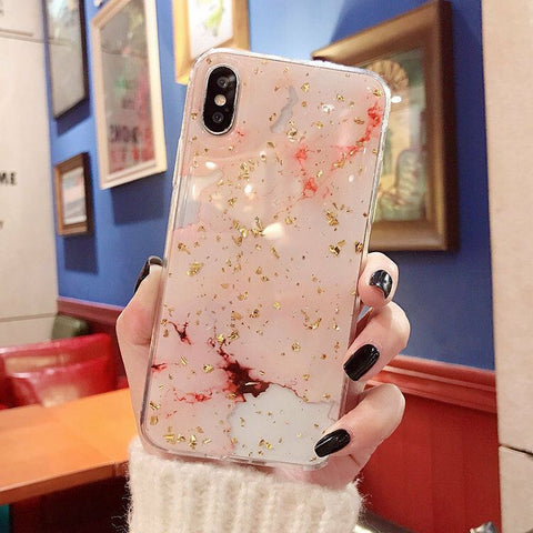 Marble Bumper Tough epoxy Bling Glitter Soft Cover Case For Apple iPhone 11 Pro XS Max XR 8 7 6S Plus